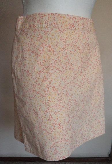 Falda Strech Blanca Estampado Rosa-amarillo Talla 10! Fch299