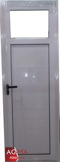 Puerta Aluminio Blanco 1/4 Vidrio Entero 70 X 2