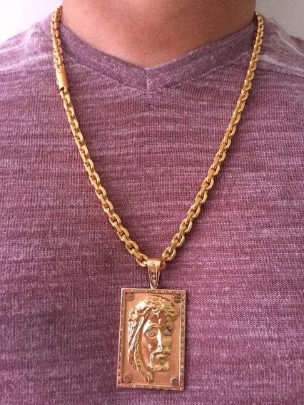 Colar Em Ouro 18k-750 Maciço, Com Pingente Em Cristo 172 Gr