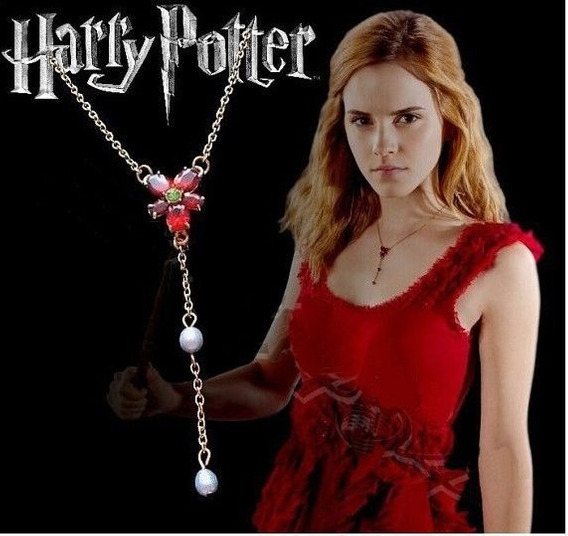 Colar Pingente Vermelho Zircon Gota Agua Moda Harry Potter