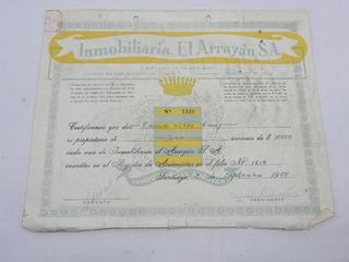 Accion Antigua Inmobiliaria Arrayan Chile 1958