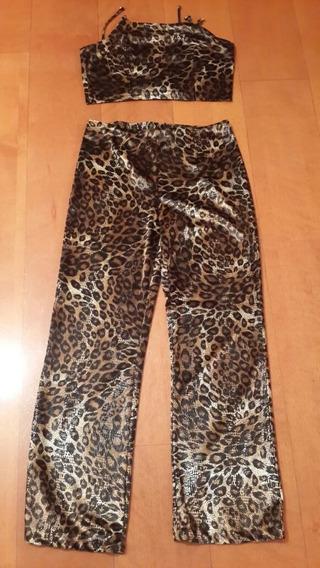 Hermoso Cojunto Animal Print Talla L Pantalon Y Crop Top