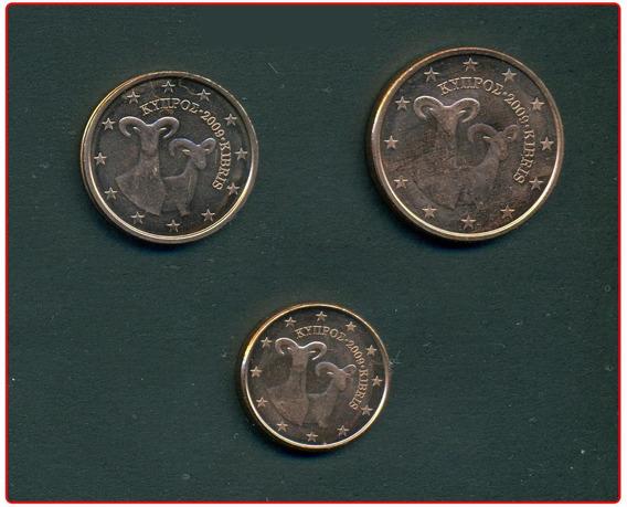 Chipre Set De 3 Monedas Del Año 2009 Sin Circular Fauna