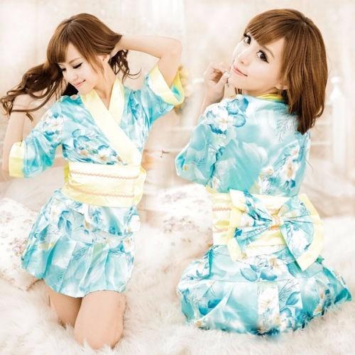 Kimono Japonés Floral Azul Geisha Sexy Costume Mujer