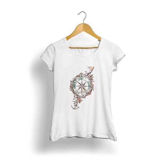 Camiseta Blusa Feminina Bússola, Norte E Sul Cod8268