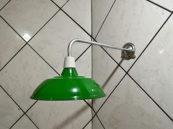 Luminaria Industrial Aluminio Verde Soquete Suporte Curvo