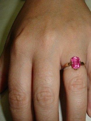Anel Ouro 18 K 750 Safira Rosa- Aro 16