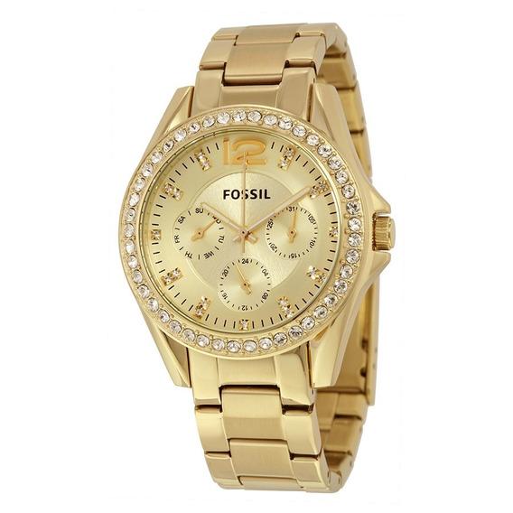 Reloj Fossil Riley Es3203 Dama Dorado Multifuncion Original*