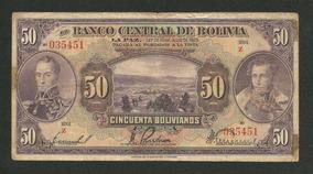 Bolívia 50 Bolivianos 1928 P. 124 Mbc Cédula - Tchequito