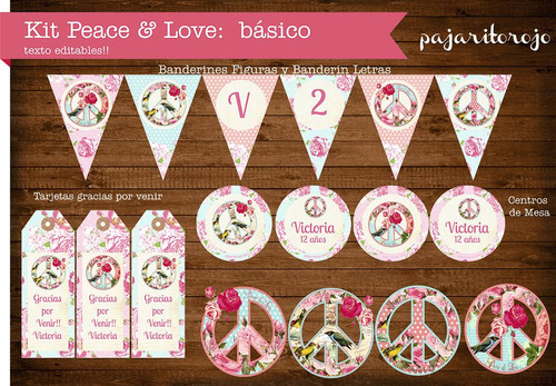 Kit Imprimible Shabby Chic Peace & Love