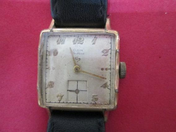 Reloj Elgin Antiguo Con Caja Chapa De Oro.