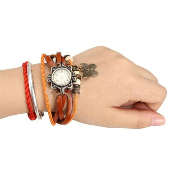 Relógio De Pulso Bracelete Marrom Pingente Borboleta
