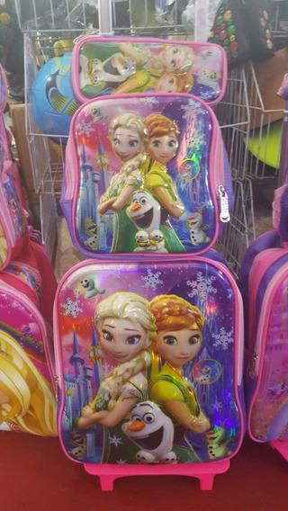 Kit Mochila Infantil Rodinha Frozen + Lancheira + Estojo