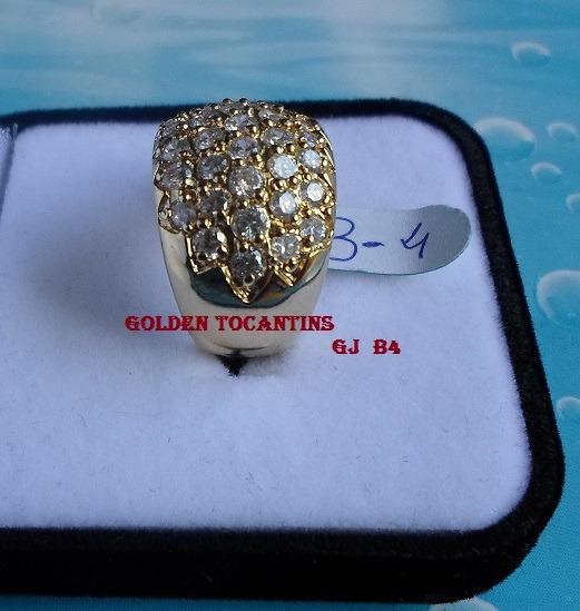 Anel Com Brilhante Mais Barato Folheada Ouro 18k Gj B4