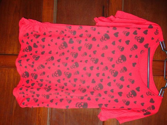 Blusa Camiseta Feminina Estampa Caveiras