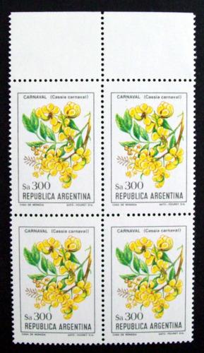 Argentina - Bloque X 4 Gj 2115 Flor $a300 Fluores Mint L2730