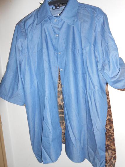 Camisa De Mujer ,casual Tela De Jeans Y Seda Animal Print
