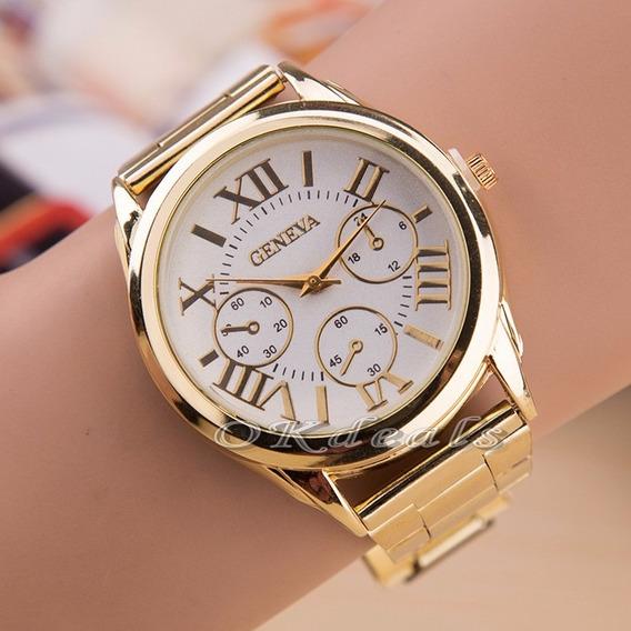 Relógio Feminino De Quartzo Com Pulseira Dourada Em Aço Inox