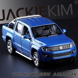 Rara Miniatura Vw Amarok 18cm Azul Abre Portas E Tem Som