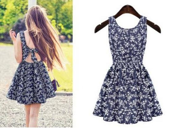 Vestido Azul Floral Feminino -- Pronta Entrega