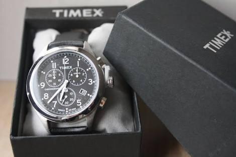 Raríssimo Timex Chronograph Caixa Em Aço Luz De Fundo Azul