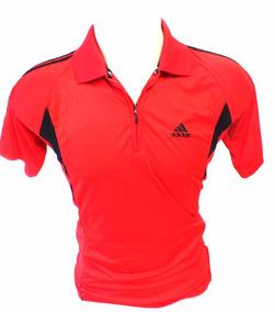 Camisa adidas Na Cor Vermelhar Com Detalhes Em Preto B2758