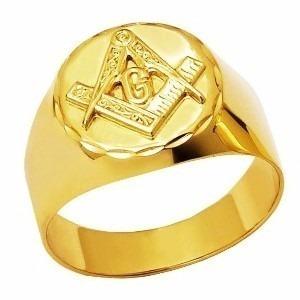 Anel Maçonaria Redondo Original Ouro 18k Frete Gratis