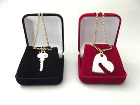 2 Colares Chave E Coração Banhado Ouro 18k Presente Namorada