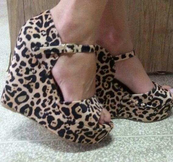 Sapatos Femininos Sandálias Salto Anabela Animal Print