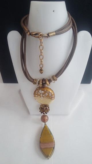 Collar+pulsera+aretes - Verde Metalico Textil-
