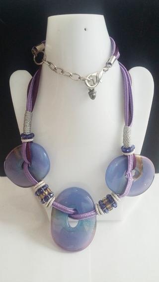 Collar+aretes -piedra Morada Textil-