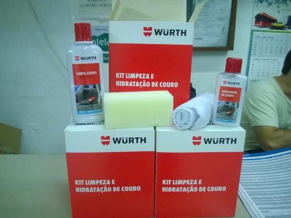 Kit Limpeza E Hidratação Wurth De Banco Couro Carro Moto E S