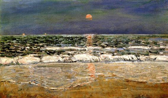 Pôr-do-sol East Hampton Nova Iorque Pintor Hassam Tela Repro