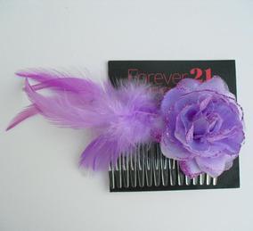 Elegante Peineta De Rosa Con Plumas Color Morado Nueva