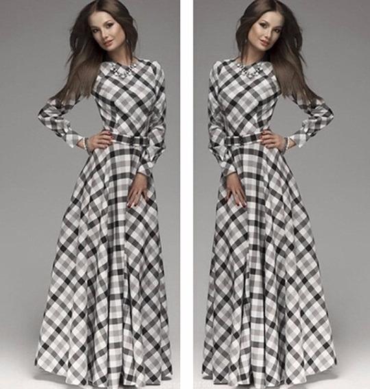 Vestido Feminino Roupa Comprido Xadrez Preto Moda Fashion