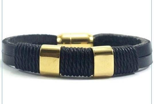 Pulseira Bracelete Masculina Feminina Dourada Em Couro