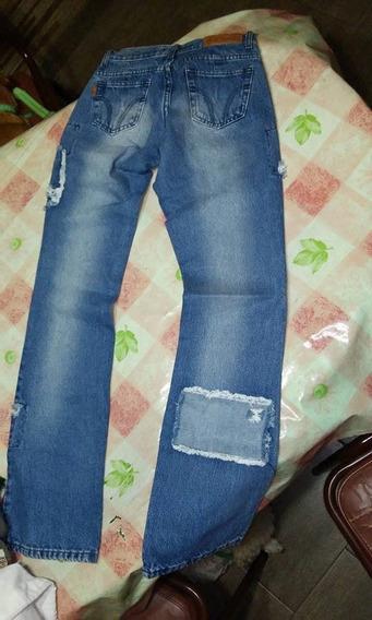 Vendo Pantalon De Jean Azul Con Recortes!!!
