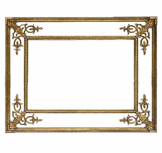 Espelho Estilo Clássico Madeira Retangular Folheação A Ouro