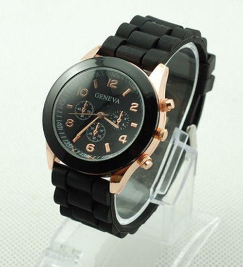 Relógio Unissex Geneva De Pulso Pulseira De Silicone Preta
