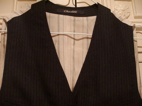 Chaleco Chocolate Color Negro Rayas Tenues - Talle 40 - S -
