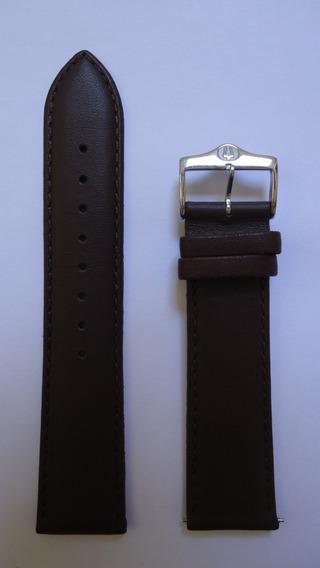 Pulseira Para Relógio Bulova Couro Marrom 22mm Lisa