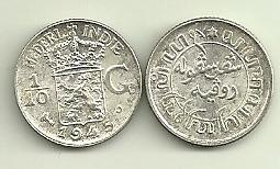 Moneda De India Holandesa Plata Año 1945 Sin Circular