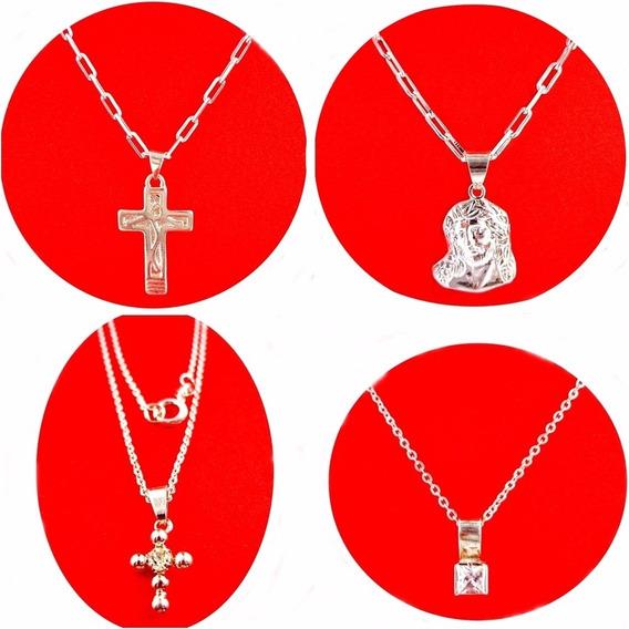 Kit Com 12 Peça 6 Correntes E 6 Pingentes Folheado Prata Ou Folheado Ouro Ou Misto Você Escolhe Somos Fabricantes
