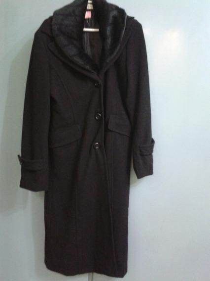 Saco Negro Con Cuello D Piel Desmontable, Nuevo Abrigo Mujer