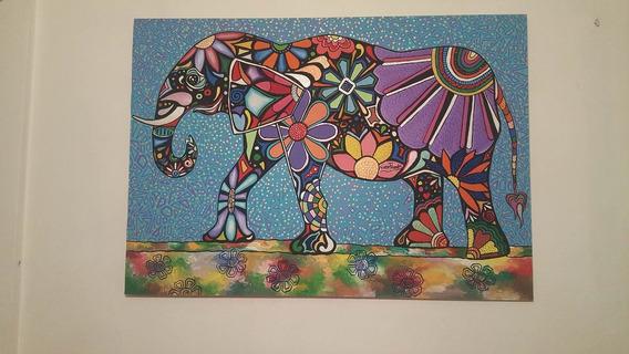 Cuadro Para El Hogar Elefante Pop Acrilico Sobre Madera