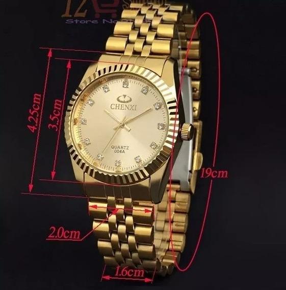 Relógio Estilo Luxo Dourado Quartz Aço Inox Alta Qualidade