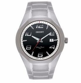 Relógio Masculino Orient Aço Prata Fundo Visor Preto C/ Data