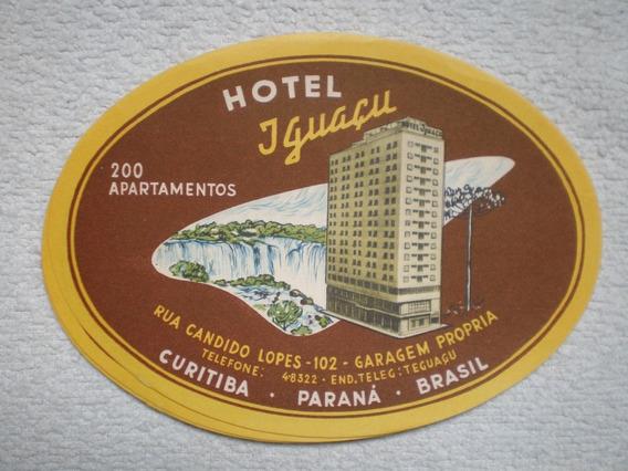 Antiguo Sticker Etiqueta De Valija Hotel Iguazu Brasil 1960
