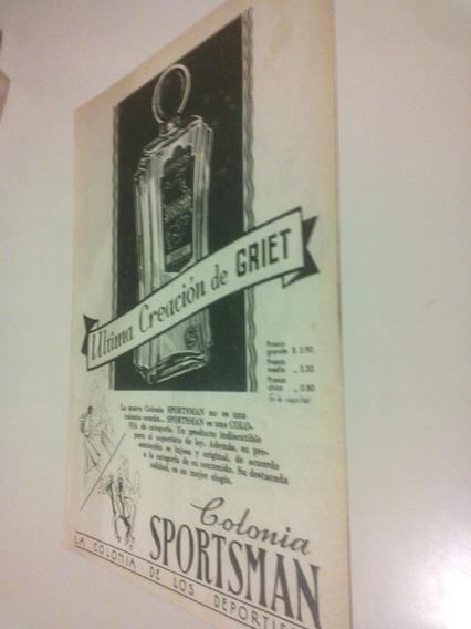 Antigua Publicidad Colonia Sportsman - Deporte Griet Perfume