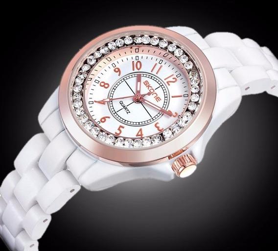 Relógio Feminino Cerâmica Original Skone